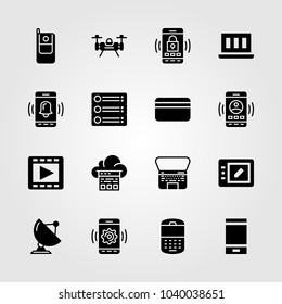Technology icons set. Vector illustration cloud computing, radar, cellphone and tablet