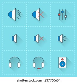 Technology icons. Vector icon set in flat design style. For web site design and mobile apps
