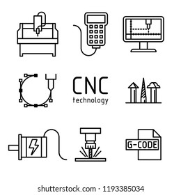 СNC technology icons vector set. Computer numerical controlled milling machine and other thematic symbols.