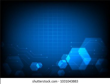 Technology illustration, circuit line and hexagons