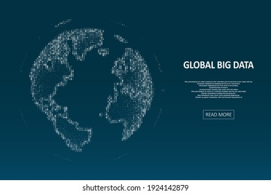 Technology image of globe. Global network graphic concept. Big data visualization. Digital innovation concept for your design