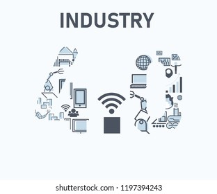 technology Industry 4.0 icon industrial of steam power, manufactory, automation robot management and Wireless communication factory in a flat style concept 4.0 model