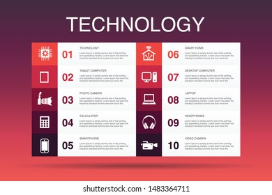 Technology Infographic 10 option template.smart home, photo camera, tablet computer, smartphone simple icons
