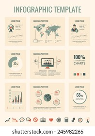 Technology infographic elements. Flat design vector technology icons and metaphors with various of vector infographic elements - pie charts, diagrams and infographic map for data visualization project