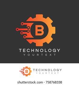 technology initial Letter B Logo design