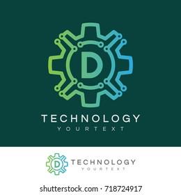 technology initial Letter D Logo design