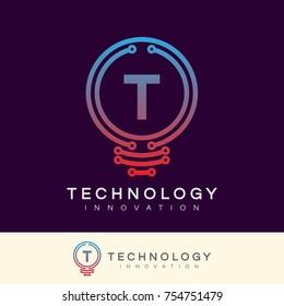 technology innovation initial Letter T Logo design