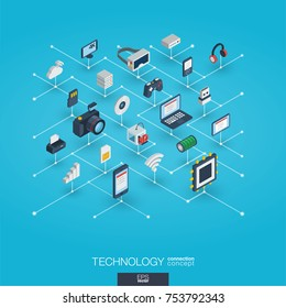 Technology integrated 3d web icons. Digital network isometric interact concept. Connected graphic design dot and line system. Background whith wireless printing and virtual reality. Vector Infograph