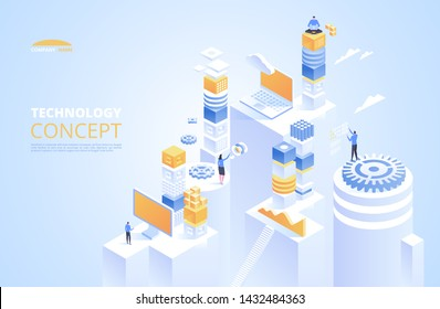 Technology isometric concept. Cryptocurrency and blockchain. Abstract future high tech vector illustration