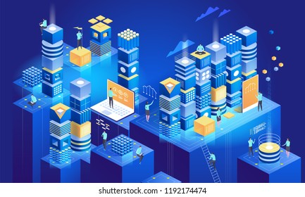 Technology isometric concept. Data network management. Blockchain cryptocurrency elements. Vector illustration