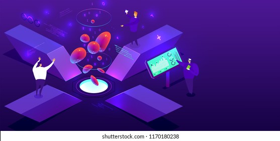 Technology isometric concept with science research and development elements and 3d liquid fluid shapes. Eps10 vector illustration