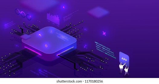 Technology isometric infographic design for application development, artificial intelligence, big data concept with circuit board and processor. Eps10 vector illustration