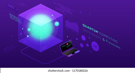 Technology isometric infographic design for quantum computer, artificial intelligence, big data concept with circuit board and processor. Eps10 vector illustration