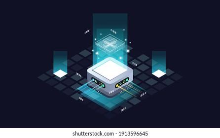 Technology isometric infographic design for quantum computer. Blockchain server concept, server room, database, information storage. Creative isometric concept.
