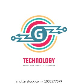 Technology Letter G - vector logo template concept illustration. Abstract lightning power energy sign. Creative digital symbol. SEO. Search engine optimization. Graphic design element