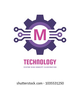 Technology Letter M - vector logo template concept illustration. Cogwheel gear abstract sign. Creative digital symbol. Mechanic industrial icon. SEO. Search engine optimization. Graphic design element