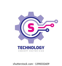 Technology Letter S - vector logo template concept illustration. Cogwheel gear abstract sign. Mechanic industrial icon. SEO. Search engine optimization.