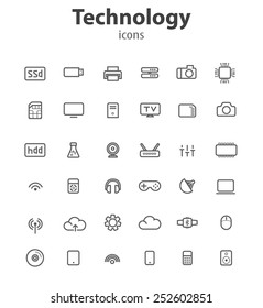 Technology line icons, vector illustrations