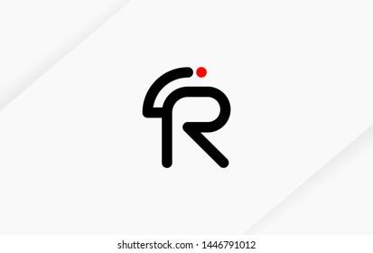 Technology line letter symbol. Alphabet R , RI , IR  logo design. Black, white and red color style. Vector illustration.