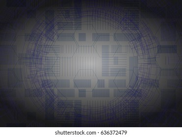 Technology with lines circles background image dark gray and blue. Vector Illustration