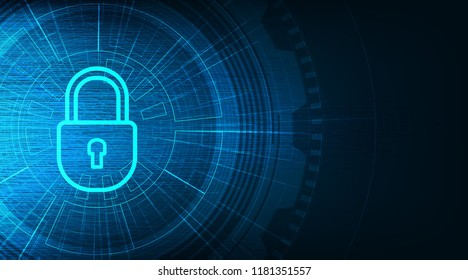 Technology Lock Security,protection and Safe Concept,on Data background Hi-tech and technology concept design.