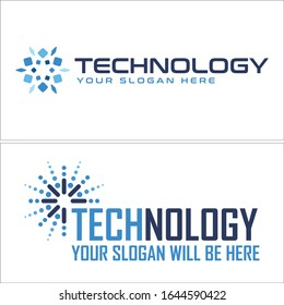 Technology logo with abstract dot line tech vector suitable for software business company development