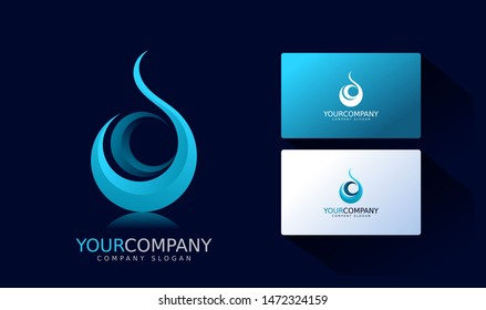 technology logo and business card. Abstract Vector Logo Design Template. Creative blue and Concept Icon. fire, water, oil, gas style
