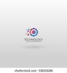 Technology logo. Colorful cogwheel logotype