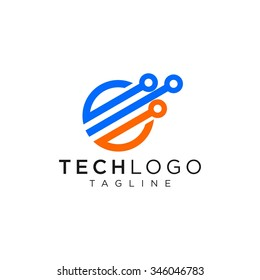 Technology logo, computer and data related business, hi-tech and innovative