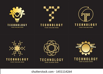 technology logo. connections sign. networking symbol. tech future luxury icons. circuit board technology design  with gold, black and blue concept. electronics backgrounds. vector illustration element