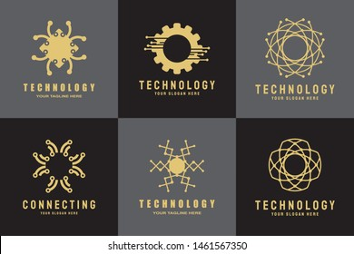 technology logo. connections sign. networking symbol. tech future luxury icons. circuit board technology design  with gold and black concept. electronics backgrounds. vector illustration element