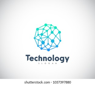 Technology Logo, Modern, Minimalist, Futuristic Vector Logo Template with Green and Blue Gradient Color