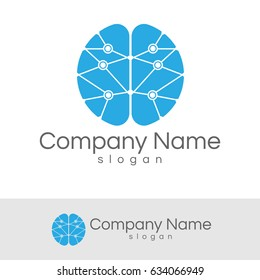 technology logo with the shape of brain