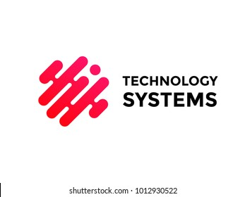 Technology logo simple tech design. Vector creative abstract circle round red flow shape modern icon for construction technology or logo template for digital communication concept