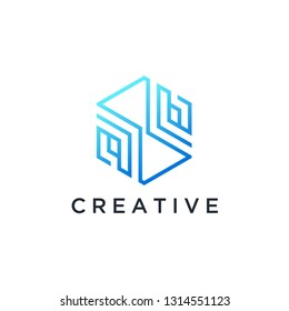 Technology logo simple tech design. Vector creative abstract template for digital communication concept