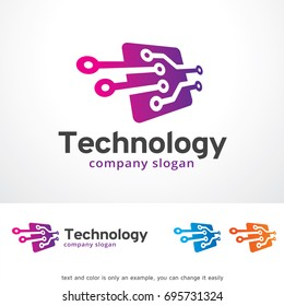 Technology Logo Template Design Vector, Emblem, Design Concept, Creative Symbol or Icon