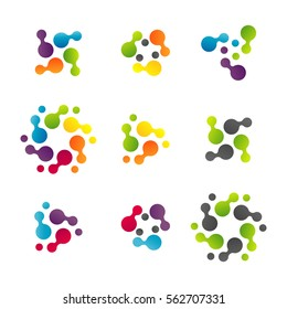Technology logo vector set. Technology logo. Technology Icon. Tech logo. Network Icon. Business, Connect, Network Logo. Biotechnology Concept. Molecule, Atom Icon.