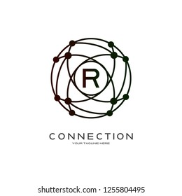 Technology logo vector with world concept, industrial emblem or symbol, sign, earth shape, mono lines,creative tech icon design, illustration element, R,