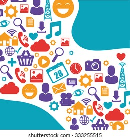 Technology media and communication graphic design, vector illustration.