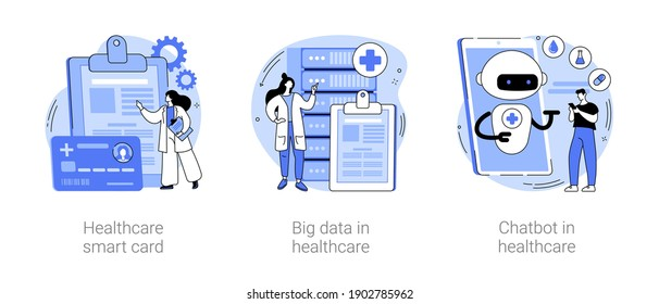 Technology in medicine abstract concept vector illustration set. Healthcare smart card, big data and chatbot in healthcare, electronic patient health records, clinic AI assistant abstract metaphor.
