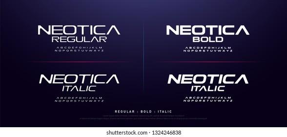 technology modern alphabet fonts. typography regular, bold and italic font uppercase techno concept. vector illustration