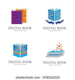 technology modern  Digital book logo vector icon illustration design template
