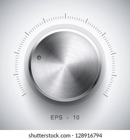 Technology music button (volume settings, sound control knob) with metal texture (stainless, steel, chrome), shadow and light background for internet sites, web interfaces (ui) and applications (apps)