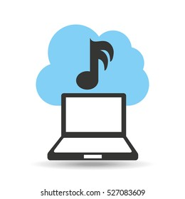 technology music cloud note icon vector illustration eps 10