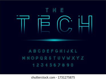 Technology neon font and alphabet. Digital space concept. Vector illustration