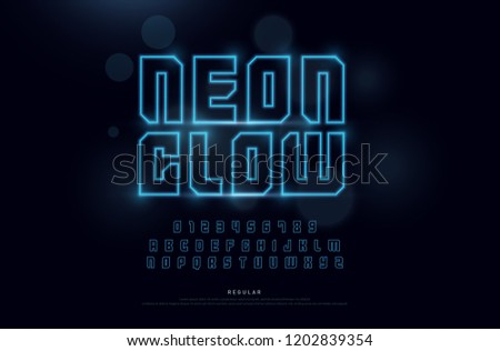 Technology neon font and numbers alphabet. techno effect logo designs. Typography digital concept. vector illustration