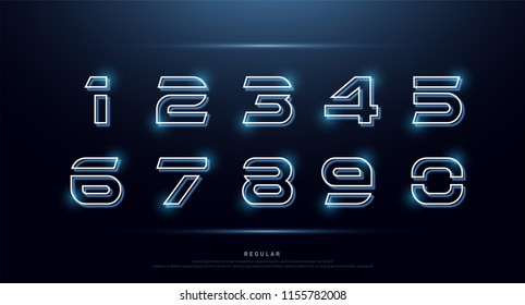 Technology number abstract neon font and alphabet. Numbers techno effect logo designs. Typography digital space concept. vector illustration
