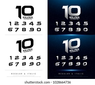 Technology number alphabet silver metallic and effect designs for logo, Poster, Invitation. Exclusive numbers Letters typography font digital and sport concept. vector illustrator