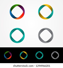 Technology orbit web rings symbol design. Round ring circle and infinity loop symbol, technology icon, circle line symbol.