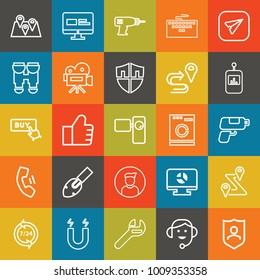 Technology outline vector icon set on colorful background